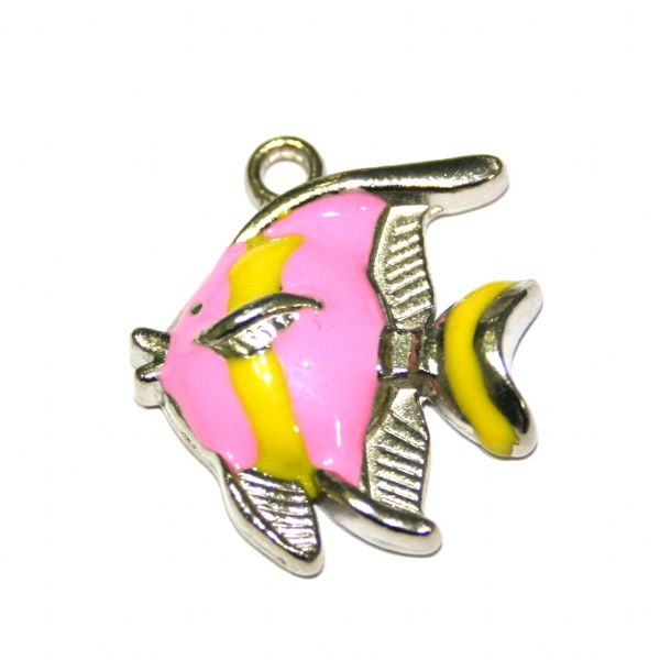 1 x 25*21mm rhodium plated pink / yellow colour fish enamel charm - SD03 - CHE1277